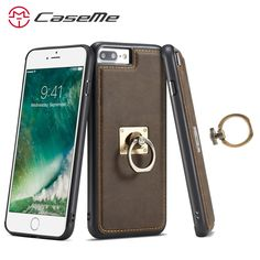 CaseMe Genuine Second Layer Leather Cases For Apple iphone 6 6S 7 Plus Bag Shell Stand Cover PC + TPU With Finger Ring On 6 6S 7 #Affiliate