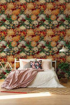 Mind the Gap Chrysanthemums Behang: Hier Verkrijgbaar WP20320 - Luxury By Nature Floral Pattern Wallpaper, Japanese Screen, Mind The Gap, Chrysanthemum Flower, Wallpaper Calculator, Home Wallpaper, Floral Fabric, Order Prints, Chrysanthemums