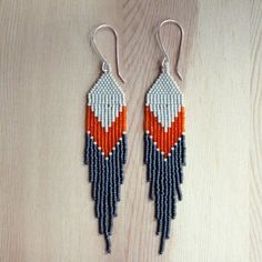 long and pointed ORANGE peyote stiched delica seed bead earrings