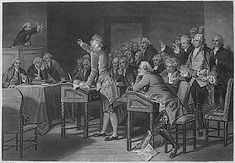Drawing, from the U.S. National Archives, depicting the Stamp Act Congress debating issues before it.