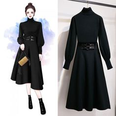 ICHOIX Korean style 2 piece outfits ladies office set women 2 piece tops and skirt set winter clothing white black sweater Fashion Drawing Dresses, Fashion Illustration Dresses, Fashion Dresses, Stylish Dresses, Stylish Outfits, Casual Dresses, Dresses Dresses, Winter Dresses, Winter Outfits