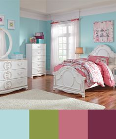Love this light and bright little girl's bedroom design with bold colors and white furniture. Click for more!