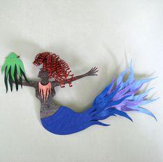 Mermaid - Recycled metal Wall Sculpture
