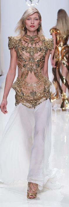 Valentin Yudashkin SS 2014 - gold and white organza evening gown