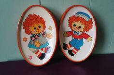 Vintage Raggedy Ann and Andy wall plaques wall by FramezCraze