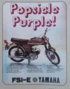1974 YAMAHA FS1 E POPSICLE PURPLE 394   COLOUR MAGAZINE ADVERT