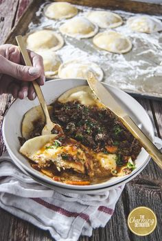 This short rib bolognese will be your new favorite slow-roasted dish! This short rib bolognese is paired with creamy ricotta ravioli. Short Ribs Slow Cooker, Beef Short Ribs, Pasta Recipes, Beef Recipes, Love Food, A Food, Ricotta Ravioli, Bolognese, Food Processor Recipes