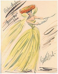 Edith Head sketch for the flawlessly  chic model, Dovima as featured in Funny Face ( Paramount, 1957) Audrey Hepburn a bohemian bookshop clerk becomes enthralled with the idea of synthetic beauty as she picks up the left behind orange and chartreuse chapeau after Dovima departs.