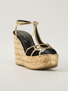 e6761018cd2a Sergio Rossi Strappy Raffia Wedge Sandal in Gold (metallic)