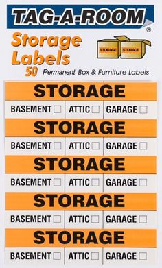 Storage Moving Box Labels Uboxes Label Pack 3 X Each Label) Attic, Basement or Garage Self Storage, Storage Room, Garage Storage, Storage Ideas, Moving Supplies, Packing Supplies, Moving Labels, Moving Boxes, Moving And Storage