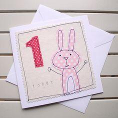 1st Birthday Card Handmade Machine Embroidered Rabbit