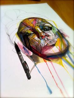 Note-Pen over watercolor-Amazing illustration