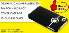 Deluxe W/chrome Rubberized Snapon Hard Back Cover Case for iPhone 4 4S Black