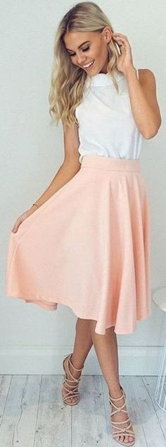 White Top + Blush 'Whirl Wind' Skirt                                                                             Source