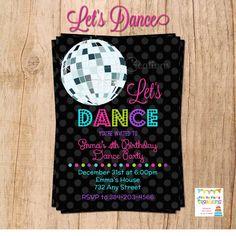 LET'S DANCE Disco Ball invitation YOU por PrettyPartyCreations