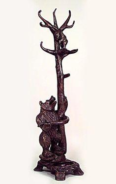 Rustic Black Forest hatrack/umbrella stand standing hatrack walnut