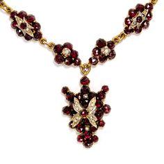 antique Garnet Necklace with Seedpearls, ca. 1860 • Hofer Antikschmuck