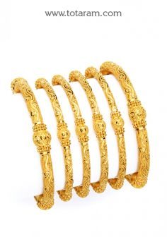 22K Gold Bangles - Set of 6 (3 Pairs): Totaram Jewelers: Buy Indian Gold jewelry & 18K Diamond jewelry
