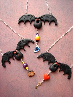 Cernit Polymer Clay #Halloween bat necklaces by @Marie Segal