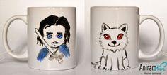 """Tazas mug """"Juego de tronos - Jon Snow"""" pintadas a mano Aniramnoc"""