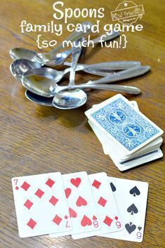 How To Play Spoons Card Game {Fun for All Ages!}Spoons is the perfect game for all ages. It's a great family game for kids, teens, and adults to play. Hilarious and so much fun! Virtual Family Games, Family Games For Kids, Family Games Indoor, Family Card Games, Fun Card Games, Christmas Games For Family, Card Games For Kids, Family Game Night, Kids Fun