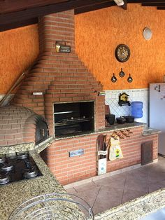 casa Massaguaçu  - Churrasqueira,forno e fogão a lenha Outdoor Oven, Outdoor Cooking, Kitchen Interior, Interior Design Living Room, Grill Design, Compact Living, Garage House, Sweet Home, New Homes