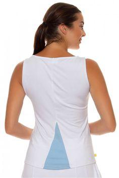 9aa2ef08778 L Oeuf Pouche Women s Back Pleat Tennis Tank with Blue Pleat