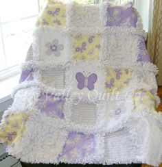 Prefringed cut  Rag Quilt KIT lavender and yellow butterflies and flowers  Die cut Appliques included. $74.99, via Etsy.