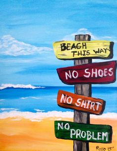 Beach this way: Nauset, Key West, Islamorada, Rye - milage? from where tho, home? def include beach chairs and a drink Beach Canvas Paintings, Acrylic Painting Canvas, Diy Painting, Painting & Drawing, Canvas Art, Beach Quilt, Summer Painting, Paint And Sip, Rock Painting Designs