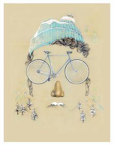 Chaque saison possède ses propres caractéristiques et sa propre palette de couleurs : pour les illustrer Daniela Carvalho a choisi le vélo