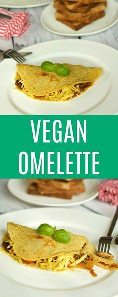 Light and fluffy Vegan Omelette served with vegan cheese, sauteed mushrooms, onion, tomato and vegan sausage for a breakfast of champions! Gluten-Free. Vegan | Vegan Breakfast | Vegan Food | Gluten-Free | lovingitvegan.com
