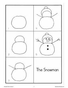 Directed Drawing Snowman – Insanely Smart, Easy and Cool Drawing Ideas Drawing Sheets For Kids, Toddler Drawing, Drawing Lessons For Kids, Art Drawings For Kids, Easy Drawings, Art For Kids, Drawing Ideas, Draw A Snowman, Kindergarten Drawing