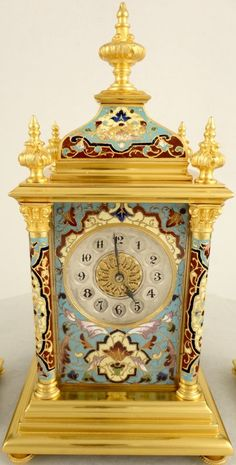 Small antique champleve enamelled French mantel clock garniture | Ian Burton Antique Clocks