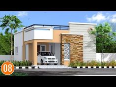 Individual houses modern front elevations    single floor home designs    House Elevations - 02 - YouTube