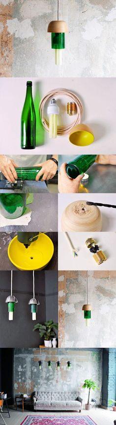Designerlampe aus einer a - Haus How to Crafts Diy Design, Diy Craft Projects, Diy Crafts, Do It Yourself Decorating, Diy Home Accessories, Diy Porch, Diy Bottle, Bottle Lights, Diy Interior