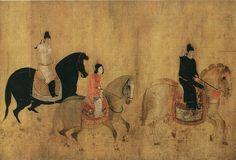 唐-张萱-虢国夫人游春图a Painted by the Tang Dynasty artist Zhang Xuan 张萱.