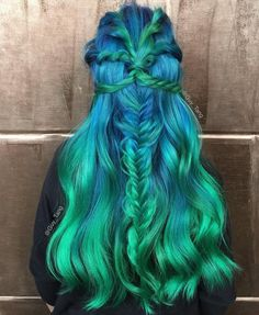 Blue To Teal Long Ombre Hair