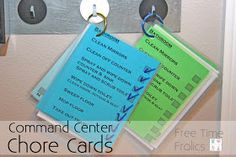 Free Time Frolics: Command Center {Chore Cards} Based on Parenting Breakthrough Zone Cleaning, Cleaning Hacks, Cleaning Recipes, Printable Chore Cards, Free Printables, Family Command Center, Command Centers, How To Clean Mirrors, Routine