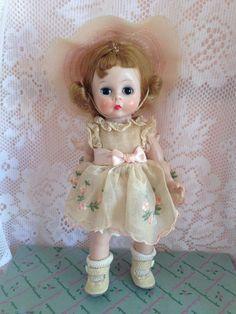 Madame Alexander Bent/Bend Knee Walker. Organdy dress w embroidered flowers.