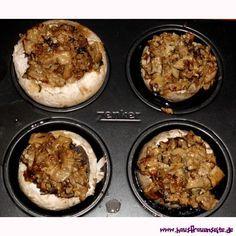 gefüllte Champignons gefüllte Champignons mit Hackfleisch und Frischkäse im Backofen zubereiten glutenfrei