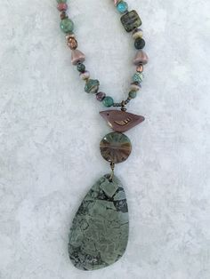 Whimsical Gilded Plum Bird & Moss Agate Stone Focal Beaded Layering Necklace with Fanciful Czech Glass Beads Gift for Women by WestportCharm by WestportCharm on Etsy Gemstone Necklace, Beaded Necklace, Pendant Necklace, Moss Agate, Agate Stone, Gifts For Wife, Gifts For Her, Layered Jewelry, Czech Glass Beads
