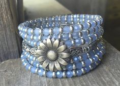 Pewter Daisy Flower Button Multi Strand Memory by McHughCreations