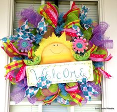 Sun Welcome Wreath Summer Wreath by BamaBelleWreaths on Etsy