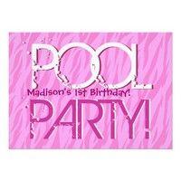 1st Birthday Pool Party Pink Zebra Waves Template Custom Invites from Zazzle.com. #birthday #kids #children #boys #girls #invite #invitation #personalize #custom #customize