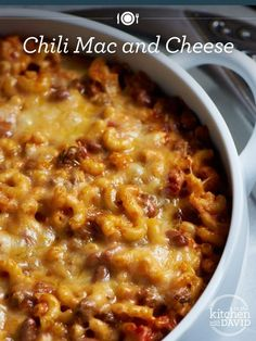 Learn how to make Chili Mac and Cheese with David Venable! Spice up your homemade mac and cheese with ground beef, taco seasoning, pinto beans & more! Baked Mac And Cheese Recipe, Chili Mac And Cheese, Bake Mac And Cheese, Mac And Cheese Homemade, Cheese Recipes, Beef Recipes, Cooking Recipes, Mac Cheese, Leftover Chili Recipes