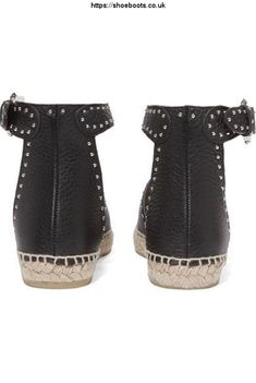 Givenchy - Studded Textured-leather Espadrilles - Black - IT Slip On Espadrilles, Espadrille Shoes, Leather Espadrilles, Havaianas Mens, Shredded Jeans, Givenchy Jacket, Womens Flats, Black Stripes, Bucket Bag
