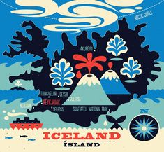 Tracy Walker Illustration - JOURNAL.... Iceland, my favourite place on earth. #illustratedmaps #iceland #tracywalkerart