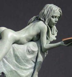 Bronze Nudes, Female #sculpture by #sculptor Carl Payne titled: 'Model Waiting' #art