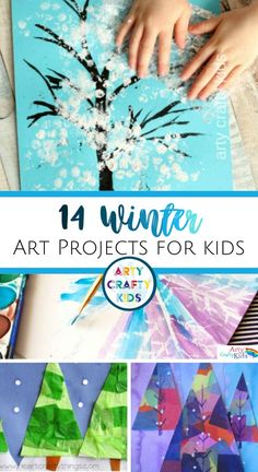 Looking for easy winter art projects for kids to do at home or in the classroom? Here are 14 wonderful winter art ideas for kids to try whether your children are in preschool, kindergarten, or elementary school! Get instructions for this easy winter art for kids   other winter arts and crafts for kids, many of which include printable craft templates to make things simple, here! Winter Crafts for Kids Art Projects | Easy Winter Art Ideas for Kids #ArtProjects #WinterCrafts