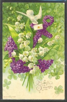 LR132 COLOMBE MUGUET VIOLETTES ANCRE TREFLE DOVE LILY of the VALLEY Gaufrée